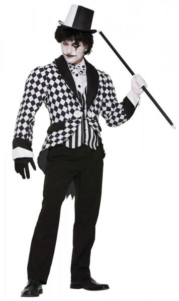Kariertes Pantomime Clownkostüm Schwarz Weiß