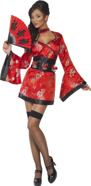 Sexy Geisha Damenkostüm Deluxe In Rot-Schwarz