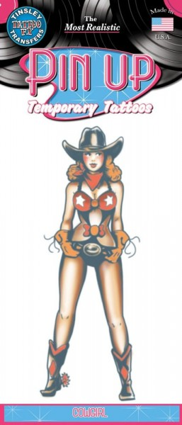 Vintage Pin Up Cowgirl Klebe-Tattoo