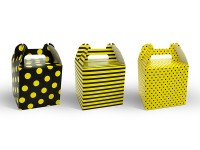 6 Geschenkboxen Biene Gelb-Schwarz