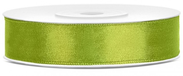 25m satin ribbon, apple green, 12mm wide