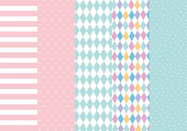 Pastel colored wrapping paper Various patterns 68.5 x 100cm