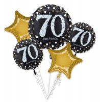 Golden 70th Birthday Ballon Bouquet