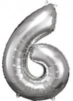 Silberner Zahl 6 Folienballon 86cm