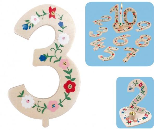 Geburtstagszahl 3 Blumengruß 10cm