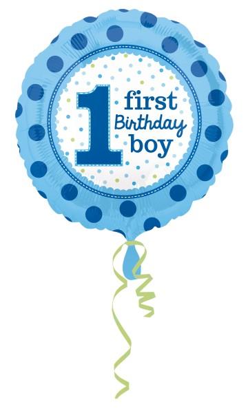 Folienballon First Birthday Boy Rund 1