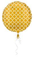 Ballon aluminium rond avec motif or et blanc