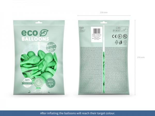 100 ballons éco métalliques vert menthe 26cm