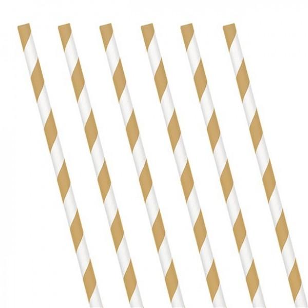 24 pailles en papier rayé blanc doré 19cm