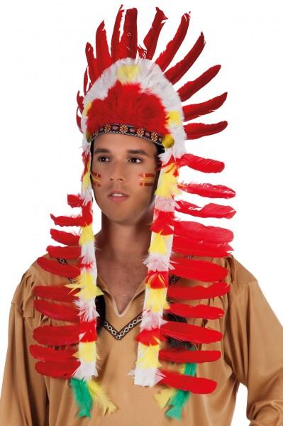 Indianer Federkopfschmuck Rot-Bunt
