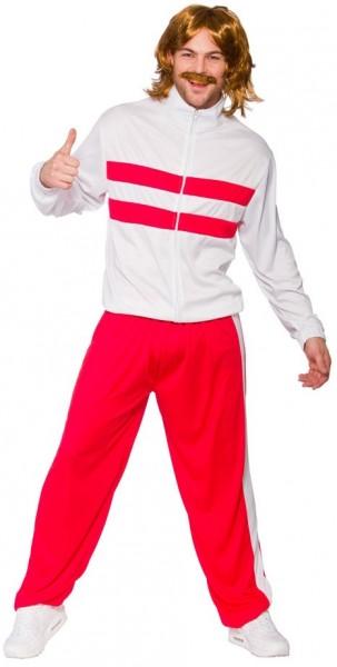 80er Jahre Retro Jogger In Rot-Weiß