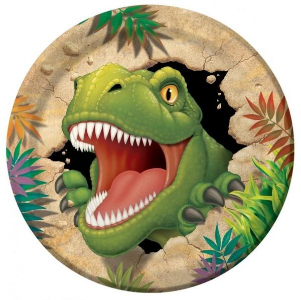 8 Höhlen Dino Pappteller 23cm