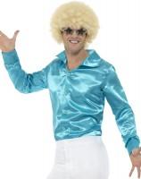 Shiny 60s Herrenhemd Blau
