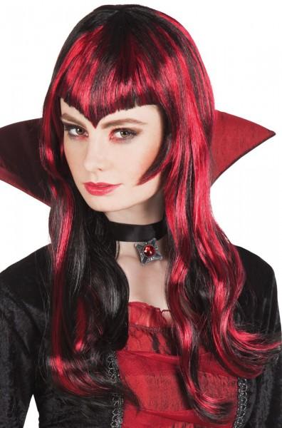 Perruque cheveux longs rouge foncé