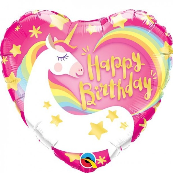 Happy Unicorn Birthday Herzballon 46cm