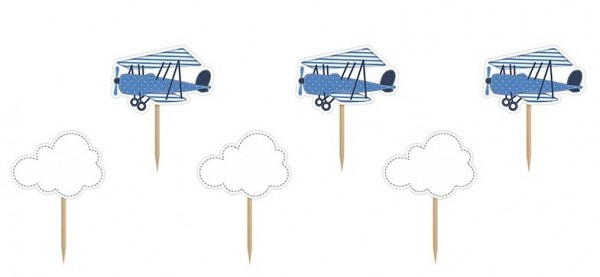 6 Little Plane Party Picker 10cm