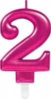 Zahlenkerze 2 Sparkling Pink