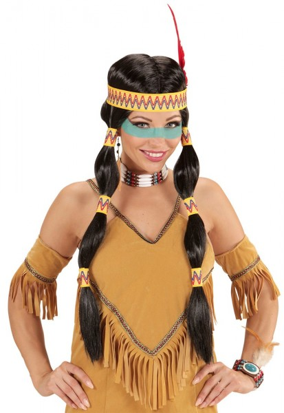 Indian woman wig with braids and headband