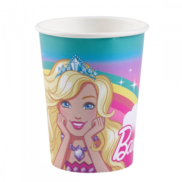 8 Pappbecher Barbie Magic World 250ml