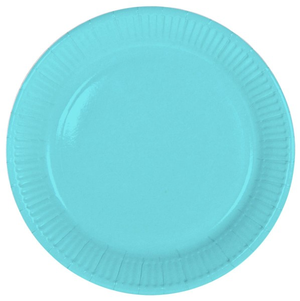 8 paper plates Cleo turquoise 23cm