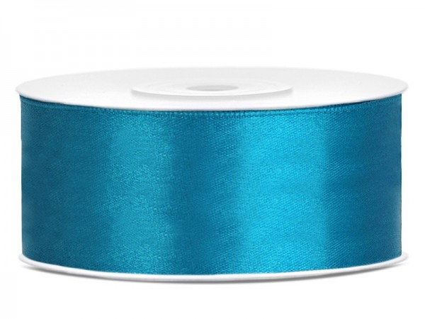 25m satin gift ribbon turquoise 25mm wide