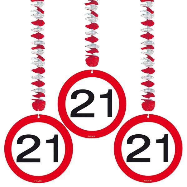 3 cartello stradale deco appeso 21 ° compleanno