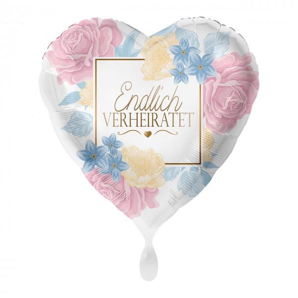 Endlich verheiratet Herz Folienballon Blumen 43cm