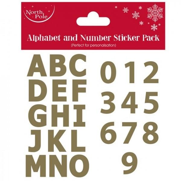 Zahlen und Buchstaben Sticker gold
