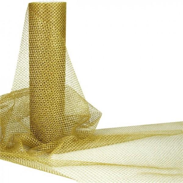 Tüll Stoff in Gold Metallic