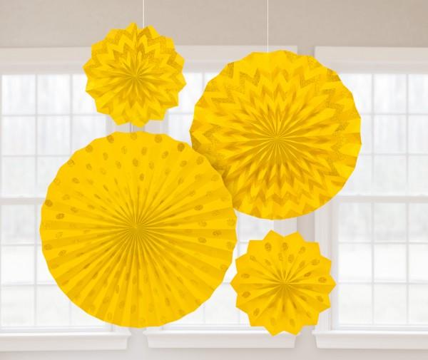 4 gelbe Papier Fächer Sunshine Glitzer