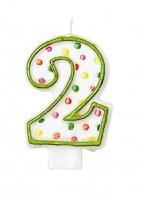 Celebrations Zahlenkerze 2 Mit Bunten Punkten Für Geburtstagstorte