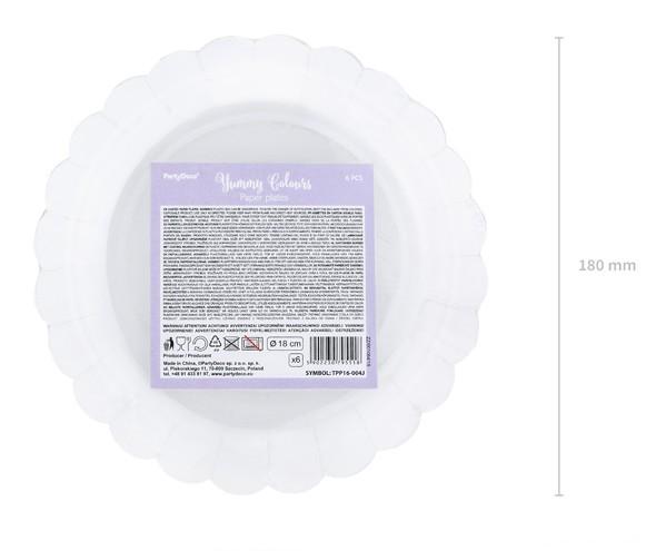 6 cukierkowych talerzyków lawendowych 18 cm