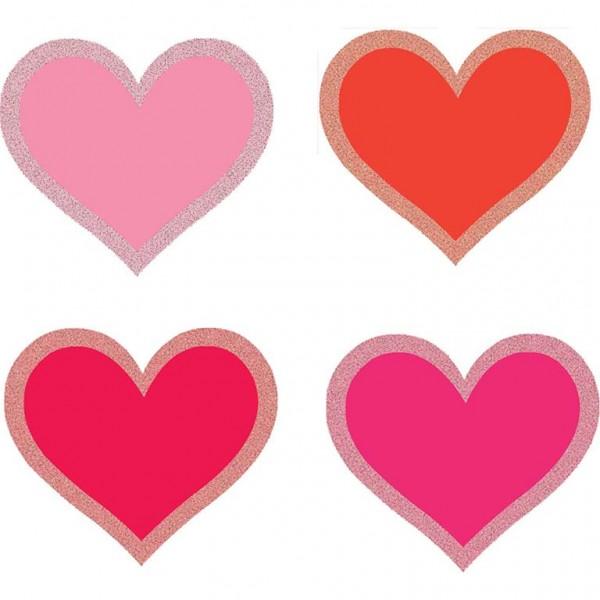 50 Glitzernde Streudeko Herzen 6cm