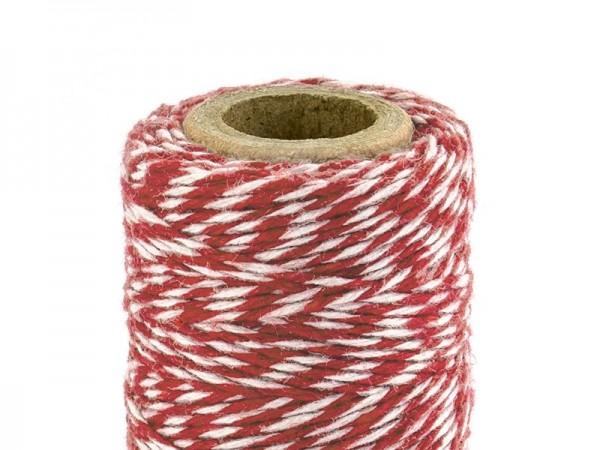 50 m de hilo de algodón en rojo y blanco