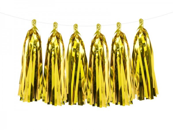 Goldene metallic Tasselgirlande 1,5m x 30cm