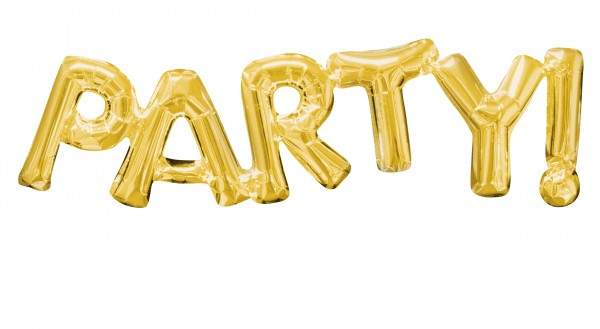 Foil balloon lettering party in gold 83x22cm