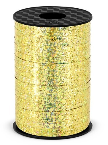 225m holographic gift ribbon gold