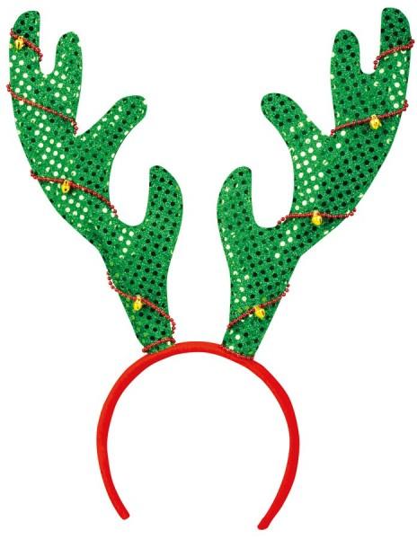 Diadema navideña con astas de campanas brillantes