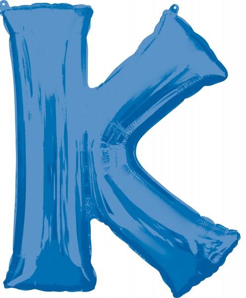 Folie ballon bogstav K blå XL 81cm