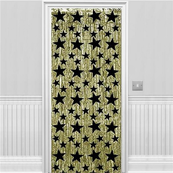 Tinsel star door decoration gold-black 2.4m