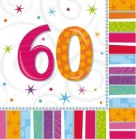 16 Bunte Regenbogen Servietten 60.Geburtstag