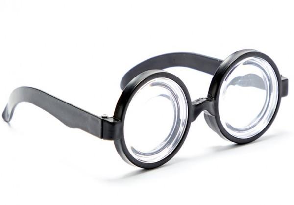 Gafas de nerd, ojos gigantes, redondos