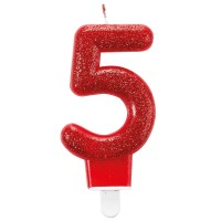 Glitzer Zahlenkerze 5 rot