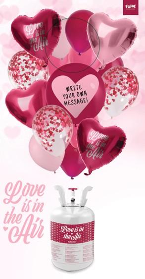 Botella de helio de San Valentín con globos.