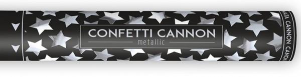 Canon à confettis étoile argent 40cm