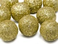 9 Glitter Deko Bälle gold 3cm