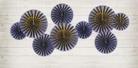 4 blaue Partynacht Papierrosetten
