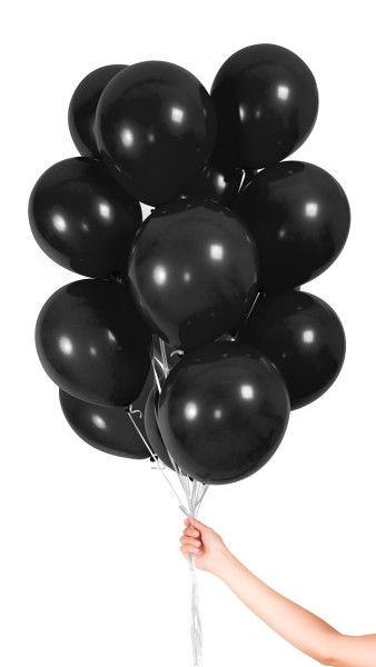 30 balloons with ribbon black 23cm