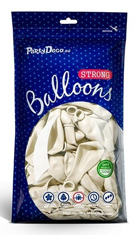 100 globos metalizados Partystar blanco 12cm