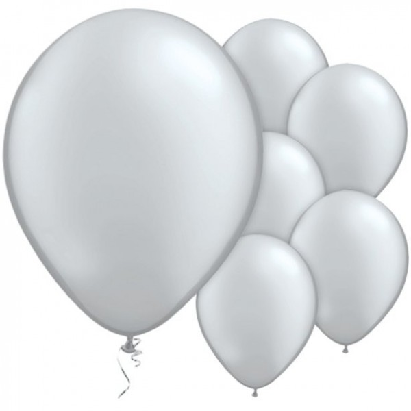 25 latex balloons silver metallic 28cm